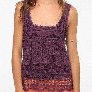 UO Pins and Needles Purple Crochet lace Top